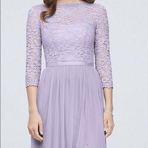 3/4 Sleeve Lace and Mesh Bridesmaid dress